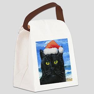 Santa Holiday Cat Canvas Lunch Bag