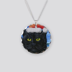 Santa Holiday Cat Necklace Circle Charm