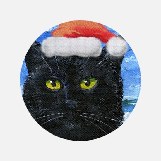 "Santa Holiday Cat 3.5"" Button"
