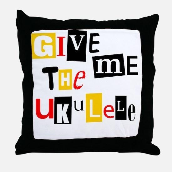 Ukulele Ransom Note Throw Pillow