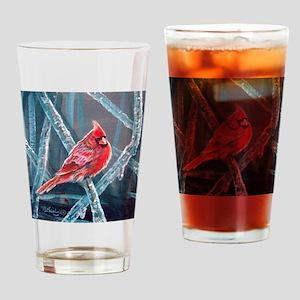 Cardinal On Ice, 2 Drinking Glass