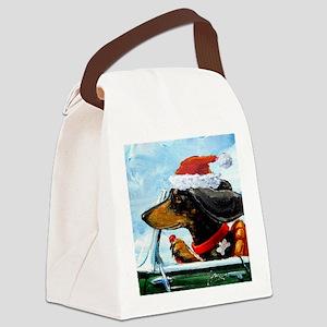 Holiday Dachshund Canvas Lunch Bag