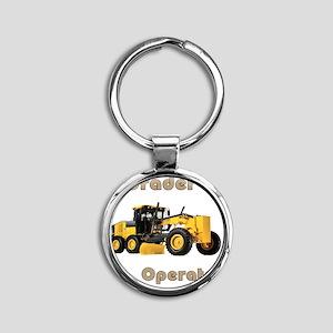 Road Grader Round Keychain