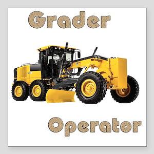 """Road Grader Square Car Magnet 3"""" x 3"""""""
