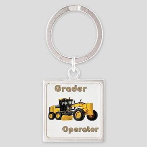 Road Grader Square Keychain