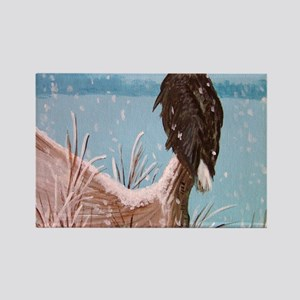Bald Eagle on Moose Antler Rectangle Magnet