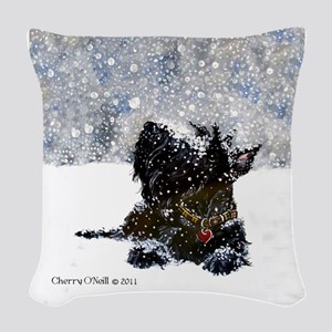 Scottish Terrier Christmas Woven Throw Pillow