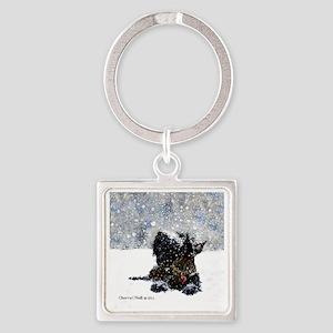 Scottish Terrier Christmas Square Keychain