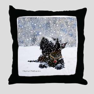 Scottish Terrier Christmas Throw Pillow