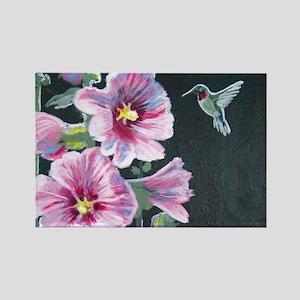 Hummingbird and Hollyhock Rectangle Magnet