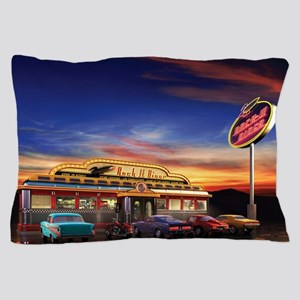 Retro American diner at dusk Pillow Case