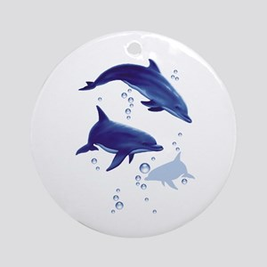 Blue dolphins Ornament (Round)