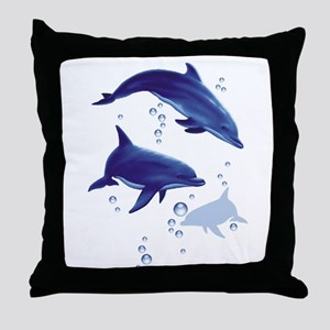 Blue dolphins Throw Pillow