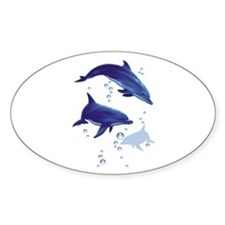 Blue dolphins Oval Sticker
