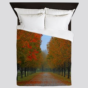 Dreamy Fall New England Drive Queen Duvet