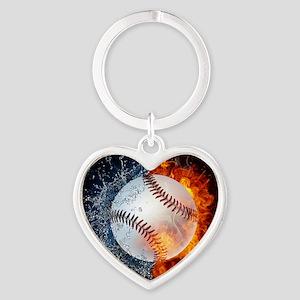 Baseball Heart Keychain