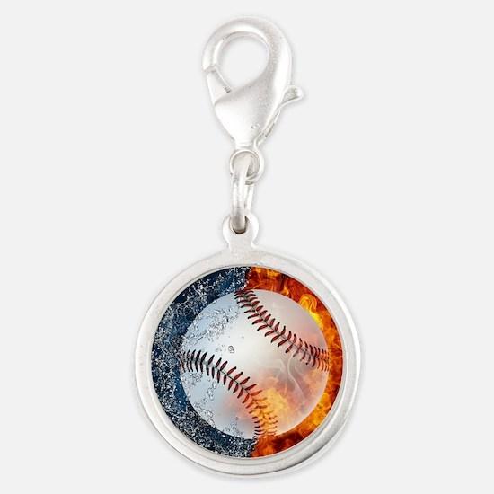 Baseball Silver Round Charm