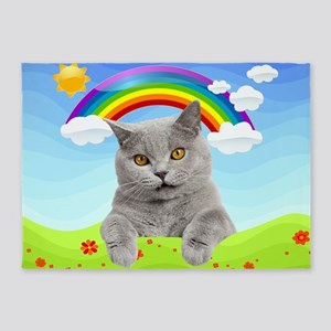 Rainbow Kitty 5'x7'Area Rug