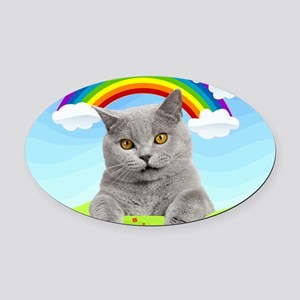 Rainbow Kitty Oval Car Magnet