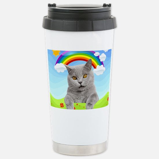 Rainbow Kitty Stainless Steel Travel Mug