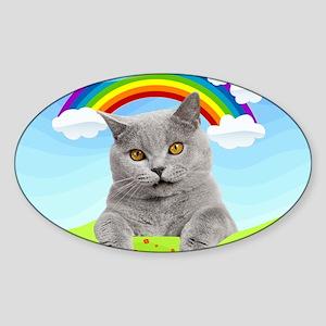 Rainbow Kitty Sticker (Oval)