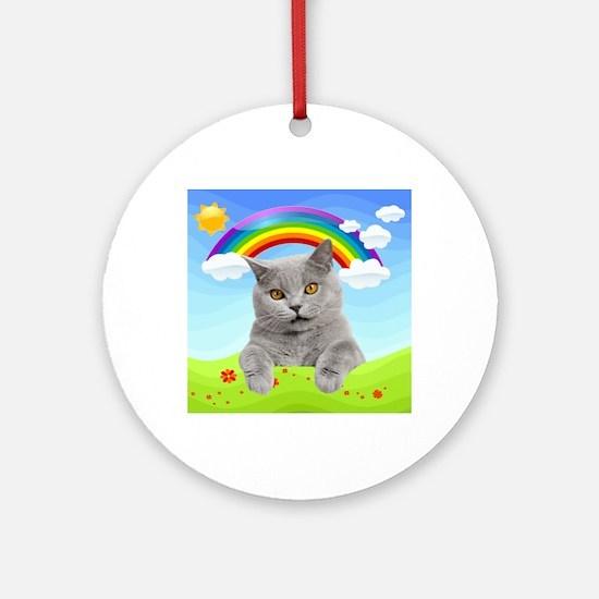 Rainbow Kitty Round Ornament