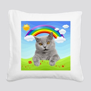 Rainbow Kitty Square Canvas Pillow
