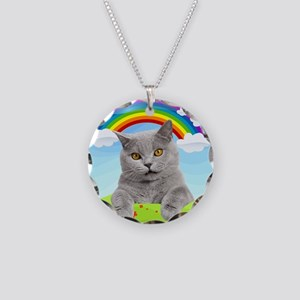 Rainbow Kitty Necklace Circle Charm