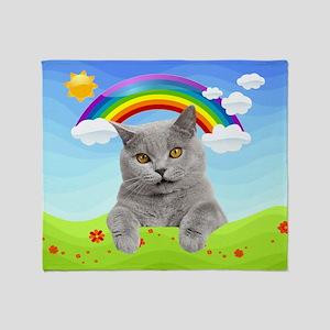 Rainbow Kitty Throw Blanket