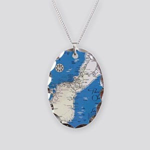GUAM MAP Necklace Oval Charm