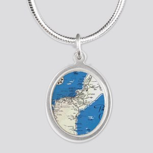 GUAM MAP Silver Oval Necklace