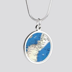 GUAM MAP Silver Round Necklace
