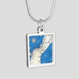 GUAM MAP Silver Square Necklace
