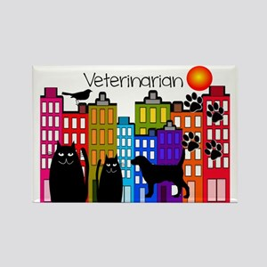Veterinarian Whimsical buildings Rectangle Magnet