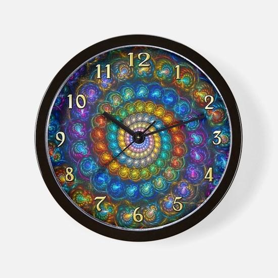 Fractal Spiral Shell Beads Clock Face Wall Clock