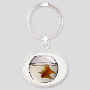 Where the fish lives Oval Keychain
