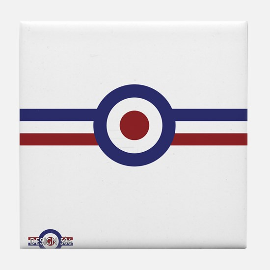 Retro scooter and mod target stripes Tile Coaster
