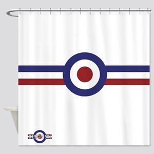 Retro scooter and mod target stripe Shower Curtain