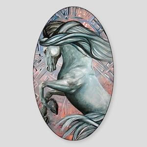 Blue Horse 10 Sticker (Oval)