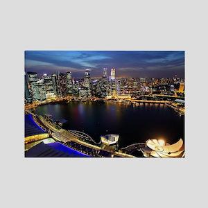 Singapore city skyline at night Rectangle Magnet