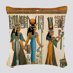 Ancient Egyptian Wall Tapestry Woven Throw Pillow