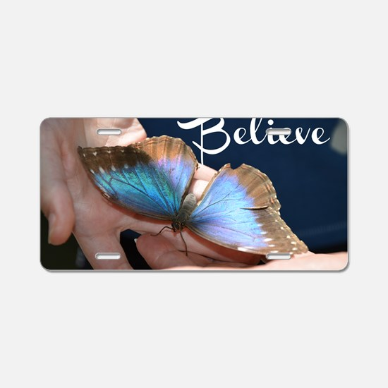 Believe Butterfly Aluminum License Plate
