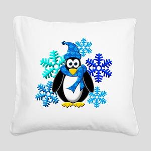 Penguin Snowflakes Winter Des Square Canvas Pillow