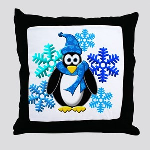 Penguin Snowflakes Winter Design Throw Pillow