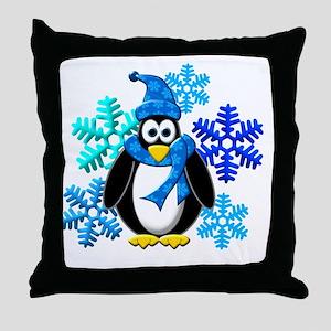Penguin Snowflakes Winter Design Throw Pillow