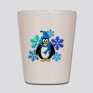 Penguin Snowflakes Winter Design Shot Glass