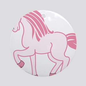 Pink Unicorn Round Ornament