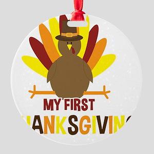 My First Thanksgiving Turkey Round Ornament