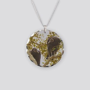 Black Vultures Necklace Circle Charm