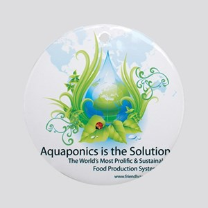 Friendly Aquaponics Earth Drop Solu Round Ornament